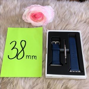 Other - Apple Watch Blue Genuine Leather Band Strap